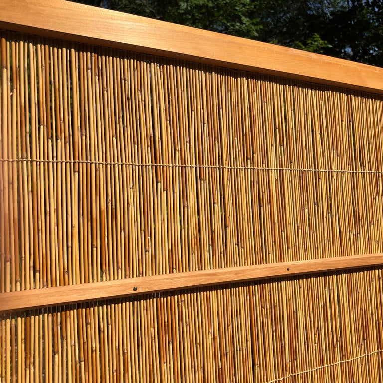 20th Century Japanese Antique Set Four Fine Natural Shoji Bamboo Doors Screens, Trees & Boats For Sale