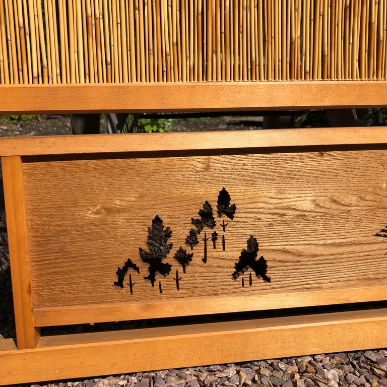 Japanese Antique Set Four Fine Natural Shoji Bamboo Doors Screens, Trees & Boats For Sale 1