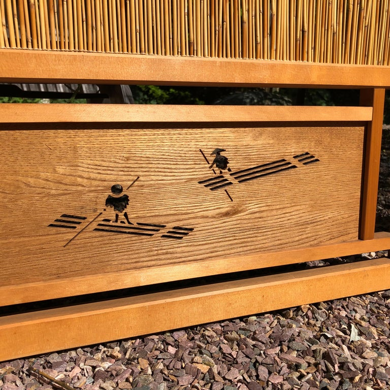 Japanese Antique Set Four Fine Natural Shoji Bamboo Doors Screens, Trees & Boats For Sale 2