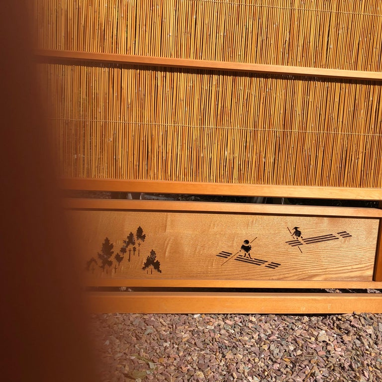 Japanese Antique Set Four Fine Natural Shoji Bamboo Doors Screens, Trees & Boats For Sale 3