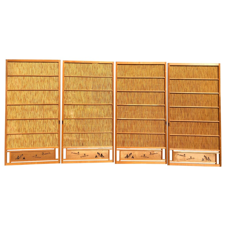 Japanese Antique Set Four Fine Natural Shoji Bamboo Doors Screens, Trees & Boats For Sale