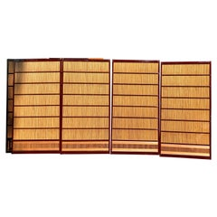 Japanese Set Four Fine Red Lacquer Shoji Doors Screens