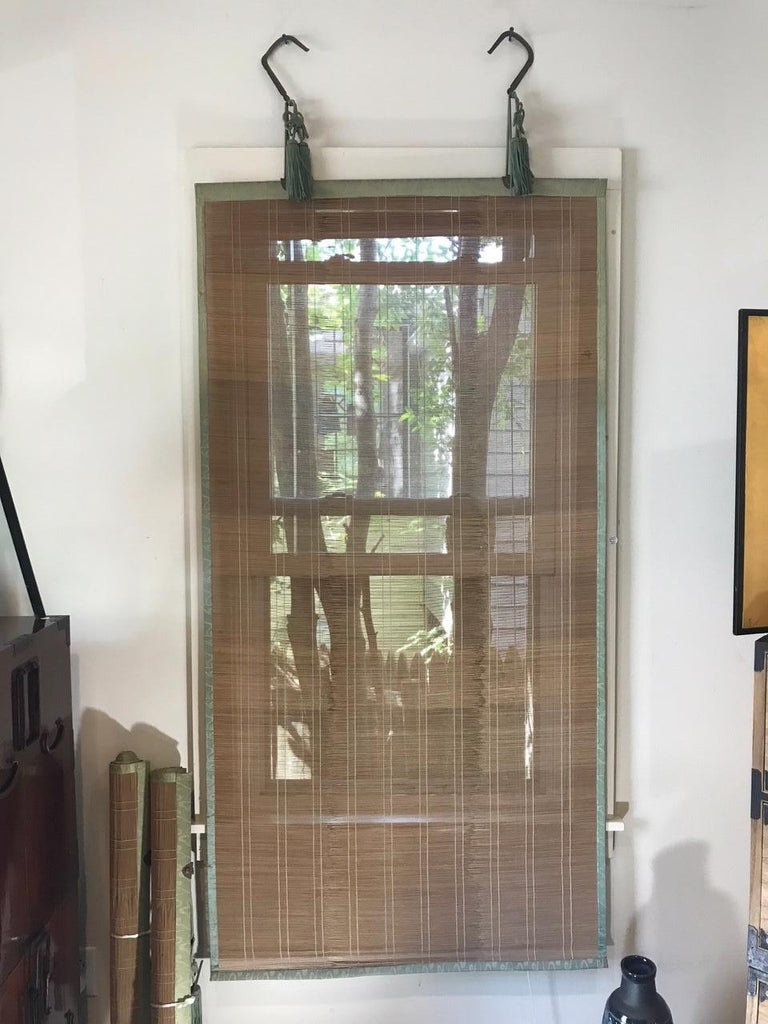Japanese Set Four Silk & Bamboo Blinds or Screens