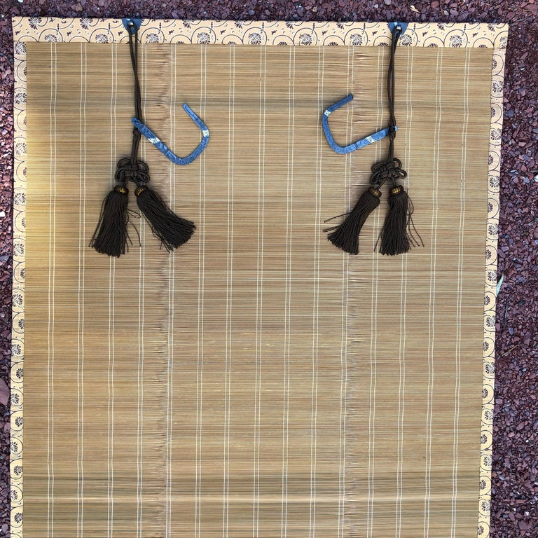 Hand-Crafted Japanese Set Four Silk & Bamboo Blinds or Screens