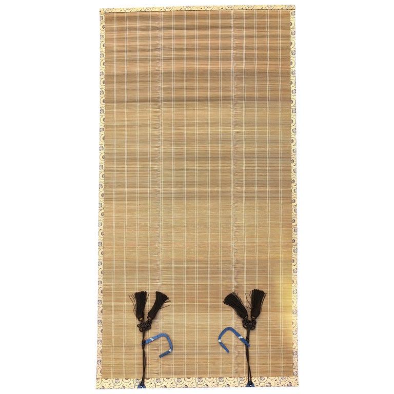 """Japanese Set Four Silk & Bamboo Blinds or Screens """"Sudare"""" Best Quality For Sale"""