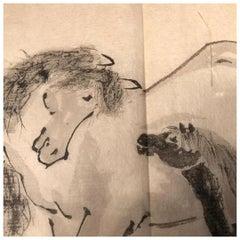 Japanese Antique Set Hand Color Paintings Horses, Horses, Manuscript Album