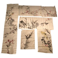 Japanese Antique Set Hand Paintings Birds, Lillies, Flowers, Manuscript Album