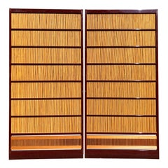Japanese Set of Two Fine Red Lacquer Shoji Doors Screens