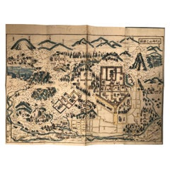 Japanese Antique Shinto Mountain Woodblock Map Nikko, 1840, Hand Painted