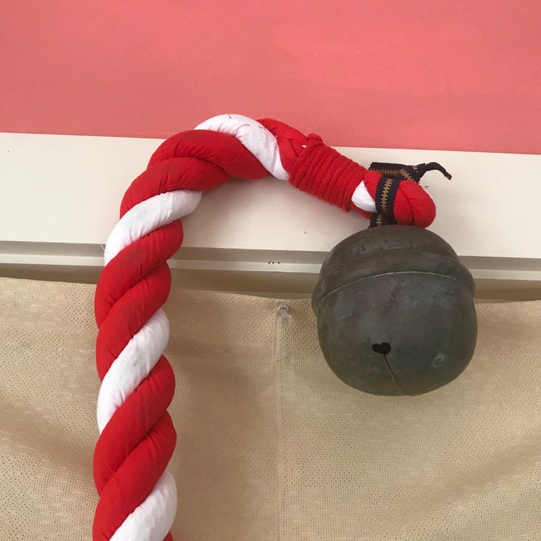 Japanese Antique Shinto Suzu Temple Bell, Hand Cast with Rope Handle For Sale 4