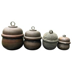 Japanese Antique Shinto Suzu Temple Bell Set Four '4' and Rope Handle, Rare Find
