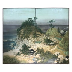 "Japanese Antique Silk Screen ""Beautiful Beach, Boats & Mountains ""Landscape"