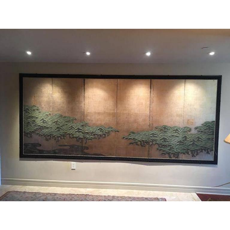 Japanese Antique Six-Panel Folding Screen Hamatsu, Clouds and Pines ...