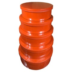 Japanese Antique Stack Red Lacquer Bowls