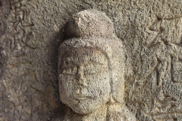 Japanese Antique Stone Buddha / Edo Period 1790 / Goddess Statue For Sale 4