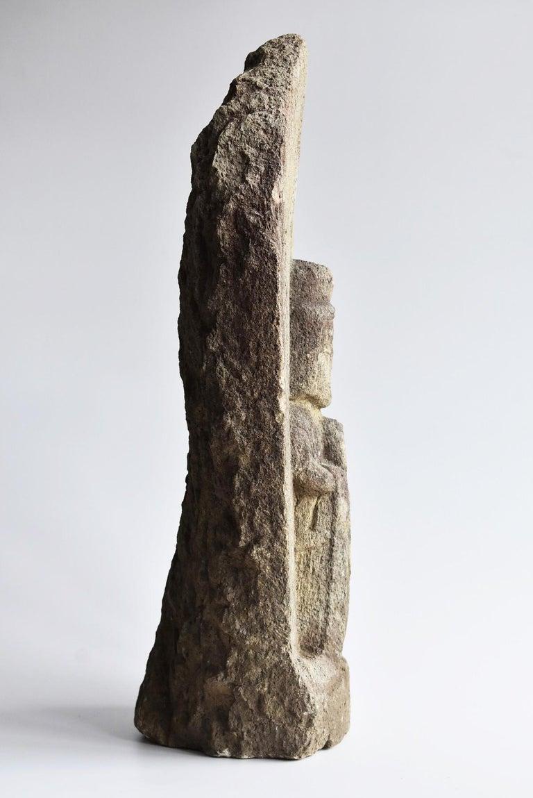 Japanese Antique Stone Buddha / Edo Period 1790 / Goddess Statue For Sale 10
