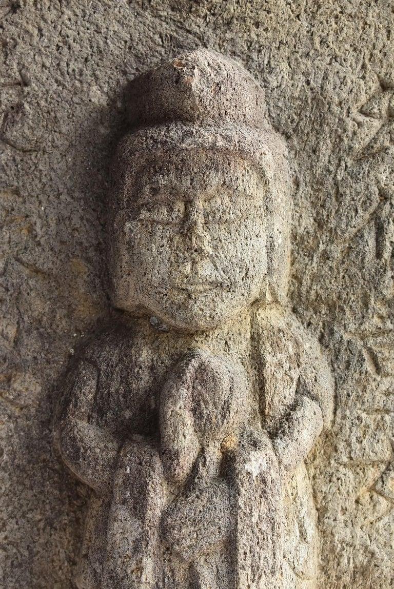 Hand-Carved Japanese Antique Stone Buddha / Edo Period 1790 / Goddess Statue For Sale