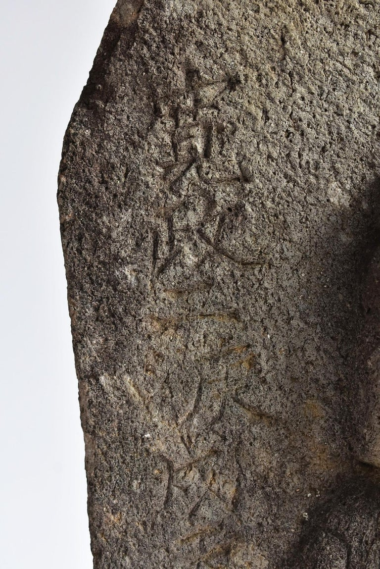 Japanese Antique Stone Buddha / Edo Period 1790 / Goddess Statue For Sale 1
