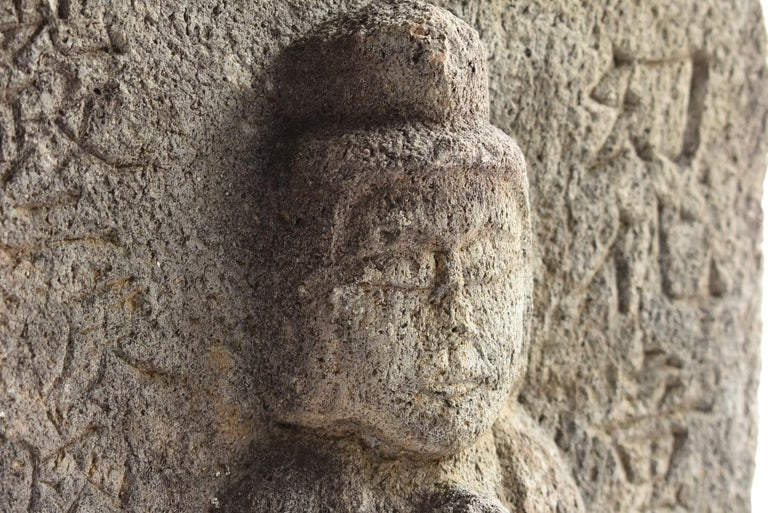 Japanese Antique Stone Buddha / Edo Period 1790 / Goddess Statue For Sale 3