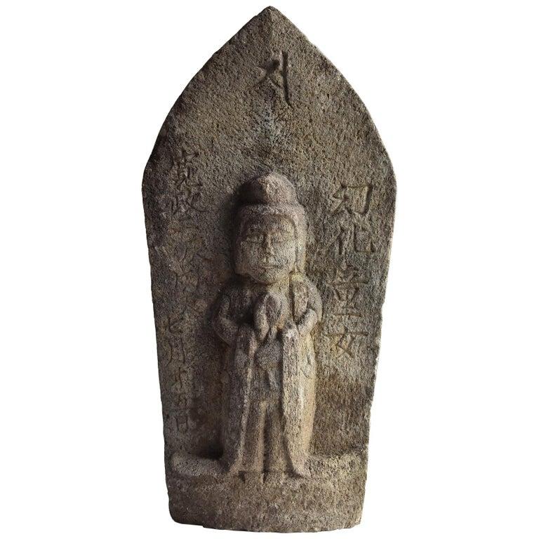 Japanese Antique Stone Buddha / Edo Period 1790 / Goddess Statue For Sale