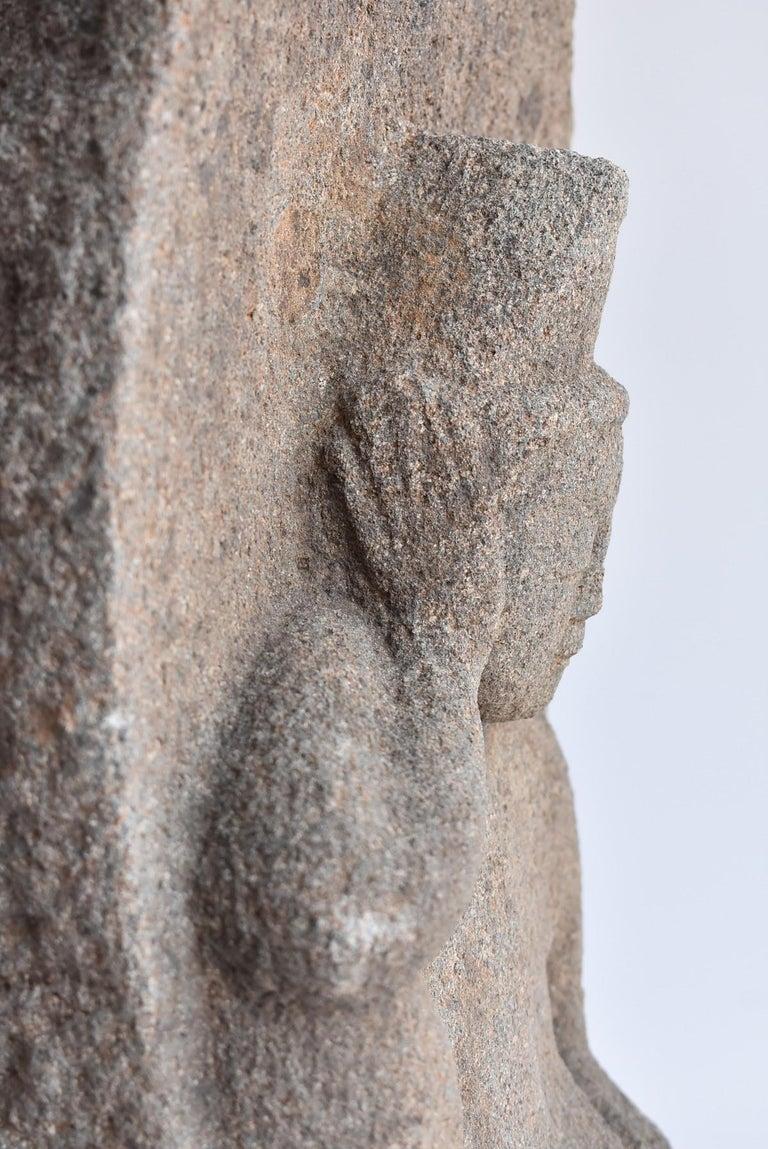 Japanese Antique Stone Buddha Late Edo Period 1750-1850 / Old Buddha Statue 9