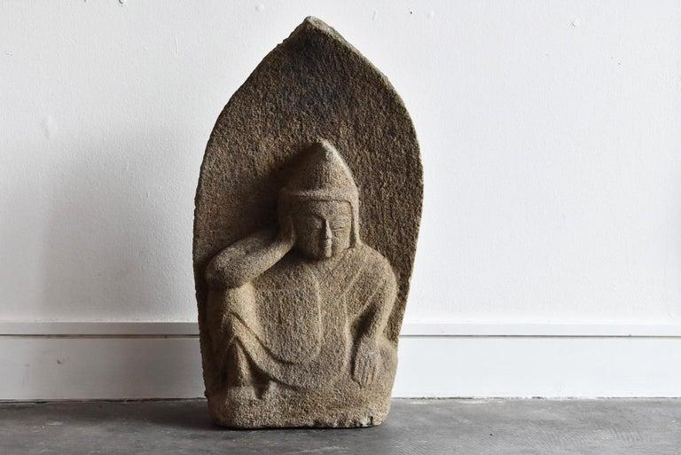 Japanese Antique Stone Buddha Late Edo Period 1750-1850 / Old Buddha Statue 10
