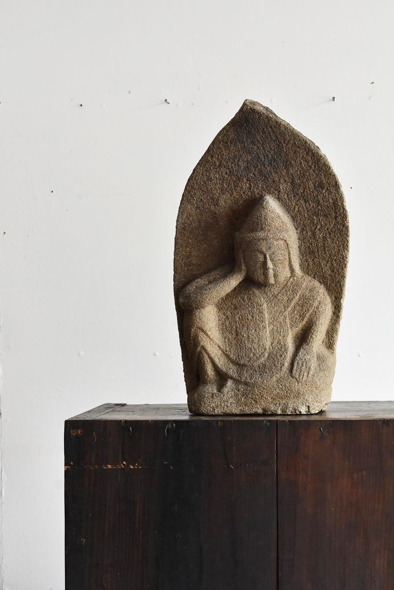 Japanese Antique Stone Buddha Late Edo Period 1750-1850 / Old Buddha Statue 11