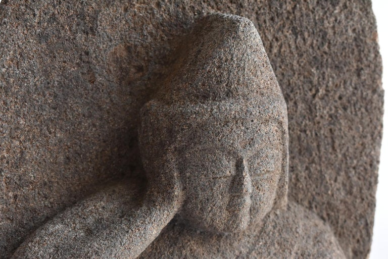18th Century Japanese Antique Stone Buddha Late Edo Period 1750-1850 / Old Buddha Statue