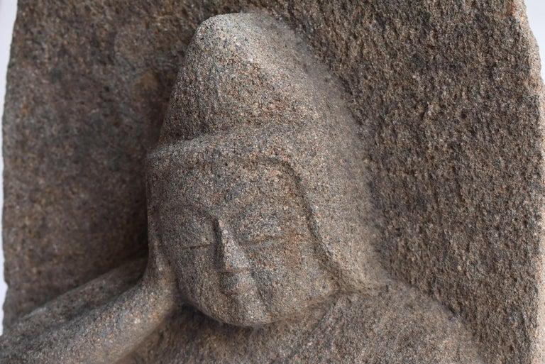 Granite Japanese Antique Stone Buddha Late Edo Period 1750-1850 / Old Buddha Statue