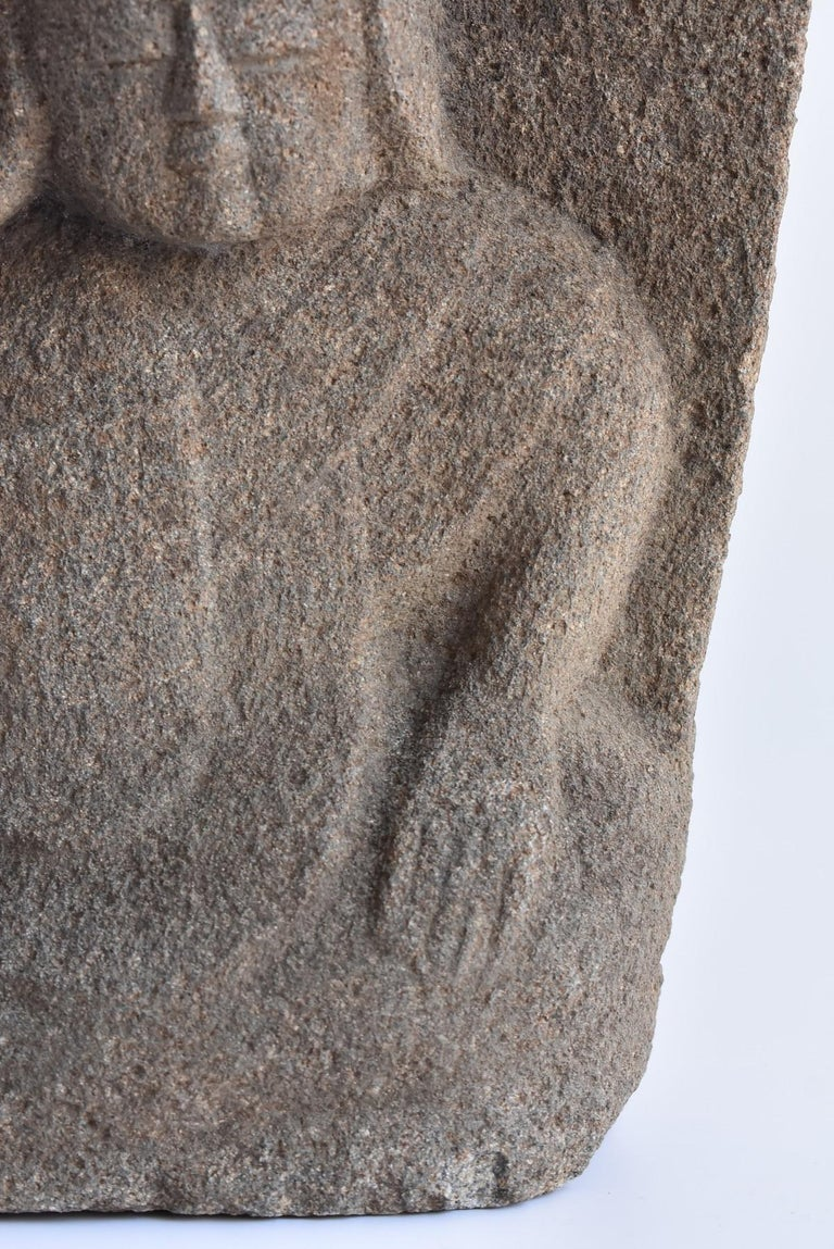 Japanese Antique Stone Buddha Late Edo Period 1750-1850 / Old Buddha Statue 1