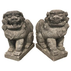 "Japanese Antique Stone Guardians ""Komainu"" Hand carved Pair, 1890"