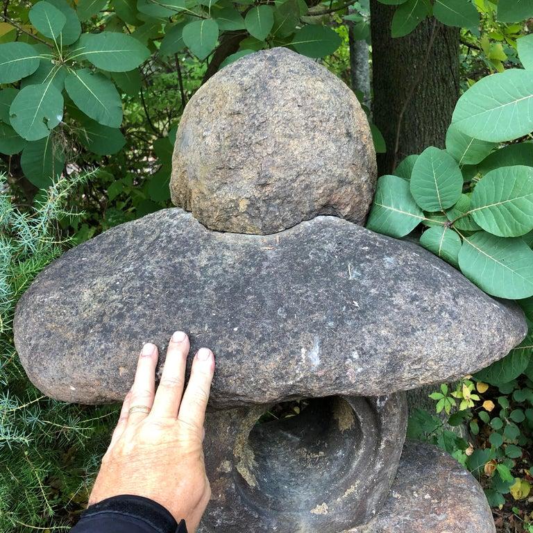 Japanese Antique Stone Spirit Lantern, Red Kurama Granite, One-of-a-Kind For Sale 1