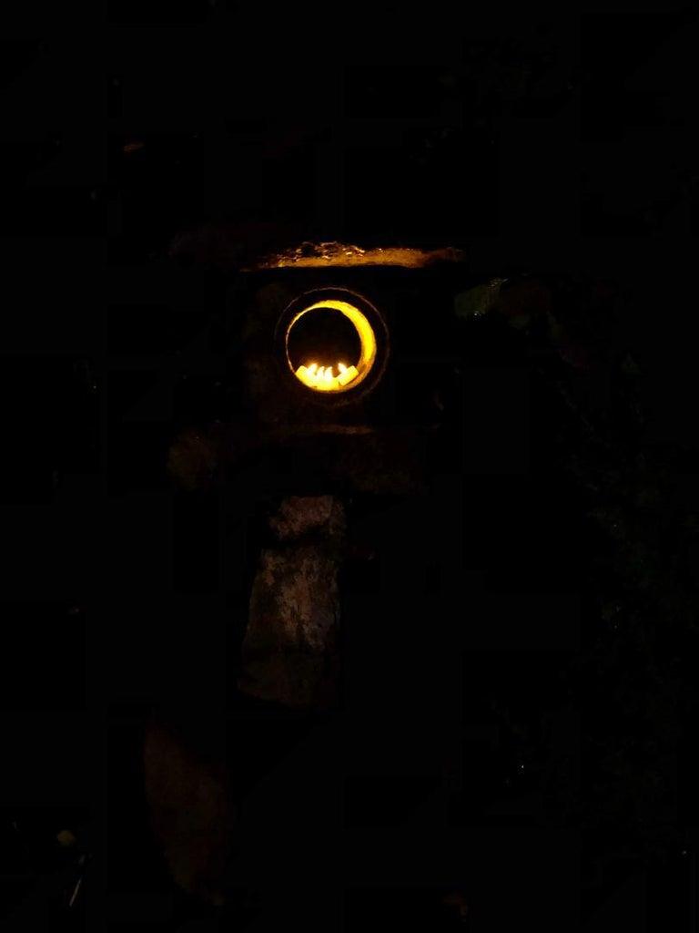 Japanese Antique Stone Spirit Lantern, Red Kurama Granite, One-of-a-Kind For Sale 11