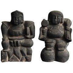 Japanese Antique Stone Statue / Two Gods / Edo Period /  Buddha /Stone Figurine