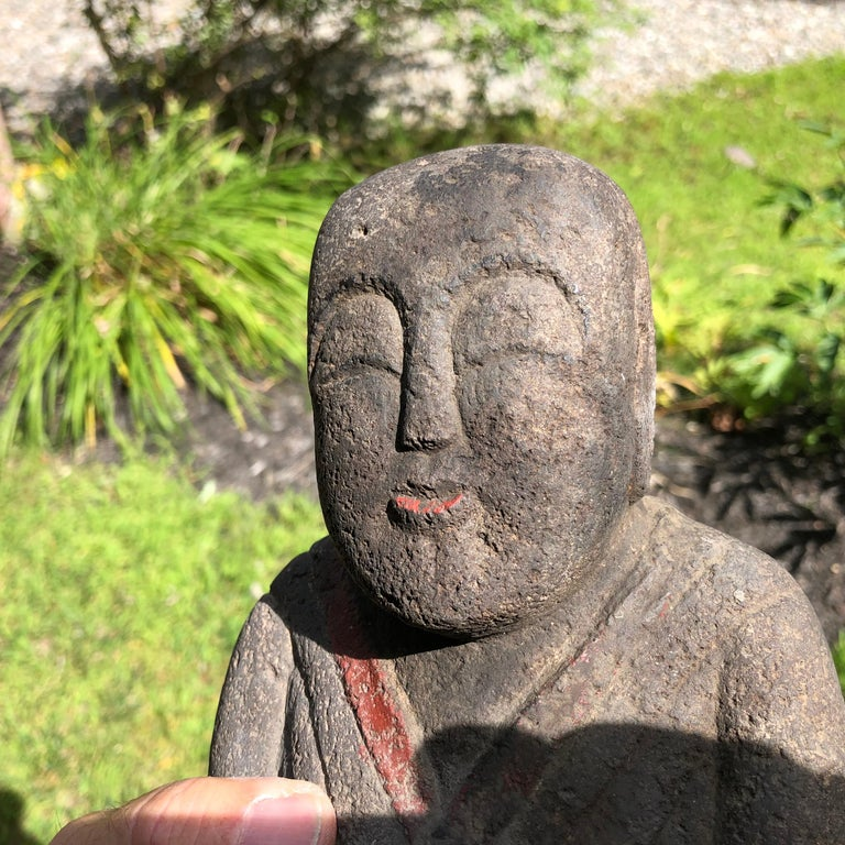 Japanese Antique Stone Sweet Buddha Hand Carved Hand Painted Serene Face For Sale 5