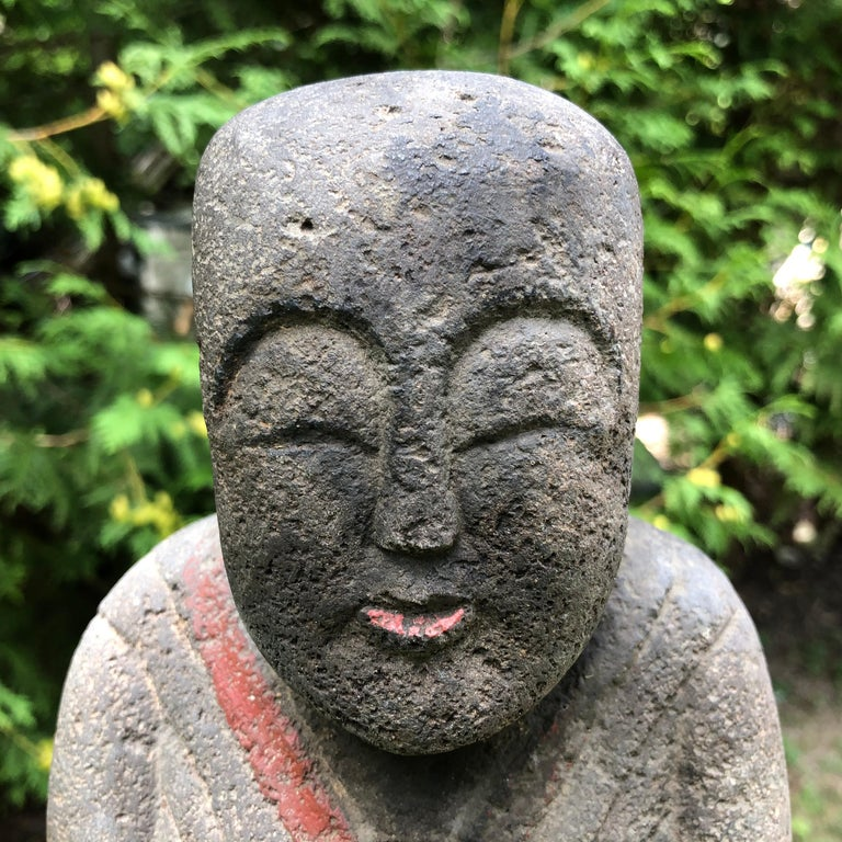 Taisho Japanese Antique Stone Sweet Buddha Hand Carved Hand Painted Serene Face For Sale