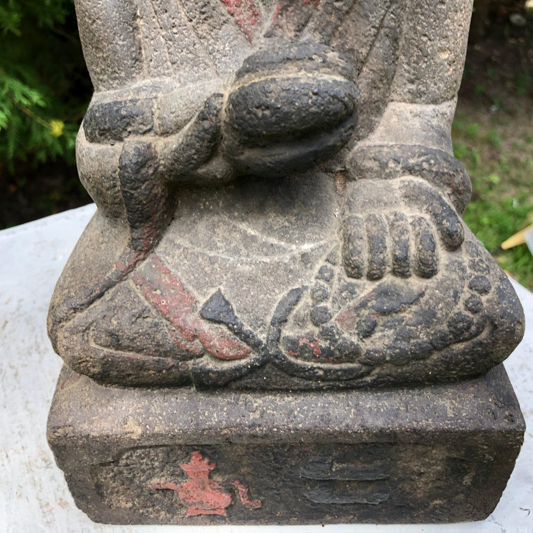 20th Century Japanese Antique Stone Sweet Buddha Hand Carved Hand Painted Serene Face For Sale