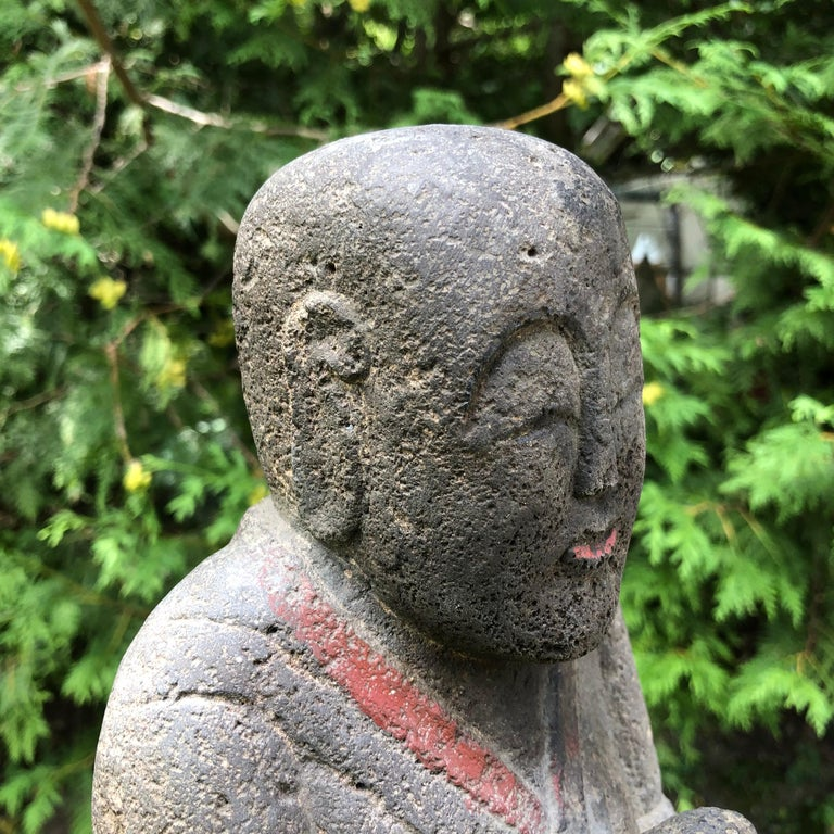 Japanese Antique Stone Sweet Buddha Hand Carved Hand Painted Serene Face For Sale 2