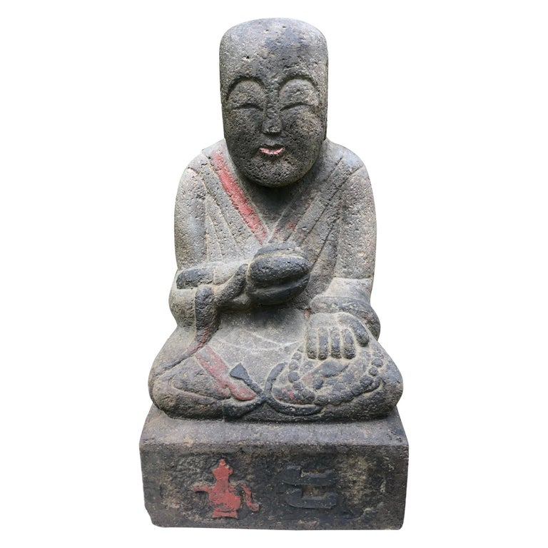 Japanese Antique Stone Sweet Buddha Hand Carved Hand Painted Serene Face For Sale