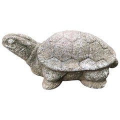 Japanese Antique Stone Turtle Kame Intricately Carved