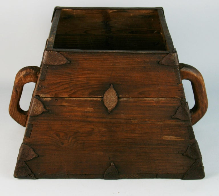 3-618 Japanese antique storage container. Dove tail joinery with handmade metal fasteners.