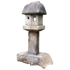 "Japanese Antique Tall ""Mountain Minka House"" Stone Lantern"