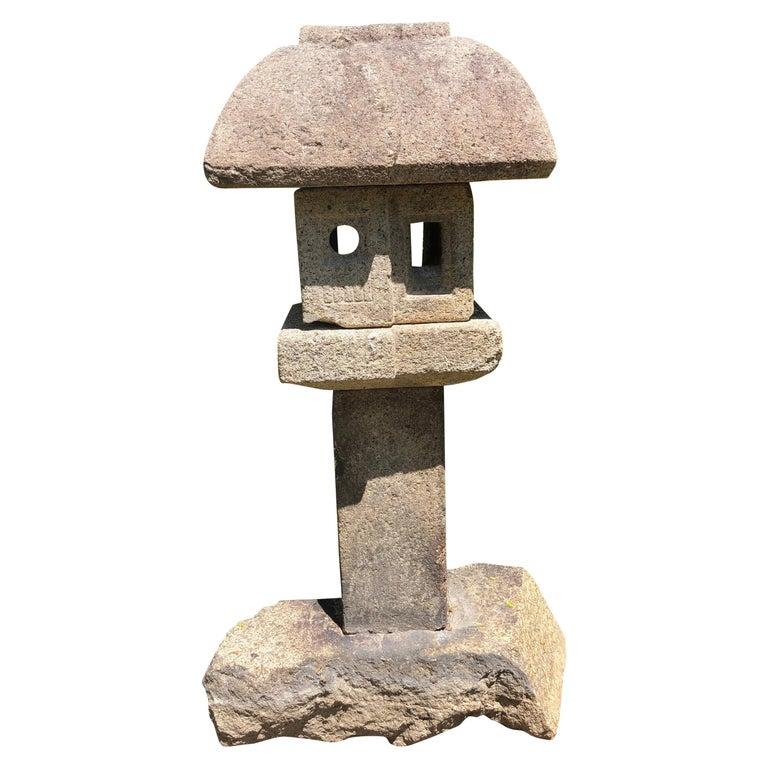 "Japanese Antique Tall ""Mountain Minka House"" Stone Lantern For Sale"