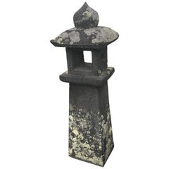 "Japanese Antique Tallest Stone ""Pathway Lantern"" Fine Quality 100 Years Old 35"""