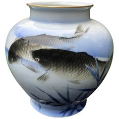 "Japanese Antique ""Triple Koi"" Vase Hand Painted, Early 20th Century"