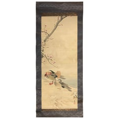 "Japanese Antique ""Two Mandarin Ducks"" Hand Painted Silk Scroll"