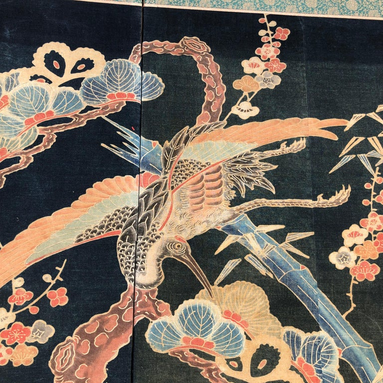 Japanese Antique Two Panel Screen Hand Spun Tsutsugaki Wall Art, 19th Century For Sale 4