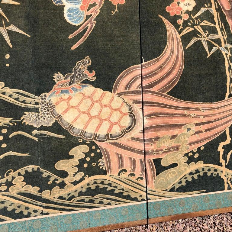 Japanese Antique Two Panel Screen Hand Spun Tsutsugaki Wall Art, 19th Century For Sale 5