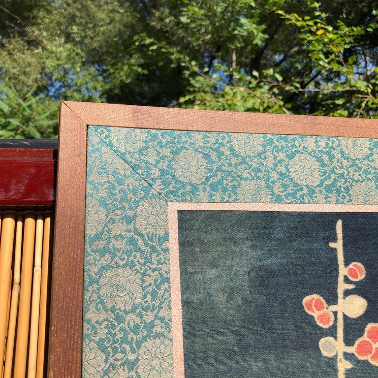 Japanese Antique Two Panel Screen Hand Spun Tsutsugaki Wall Art, 19th Century For Sale 6
