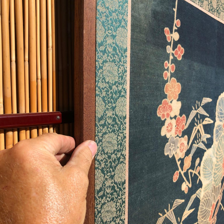 Japanese Antique Two Panel Screen Hand Spun Tsutsugaki Wall Art, 19th Century For Sale 7